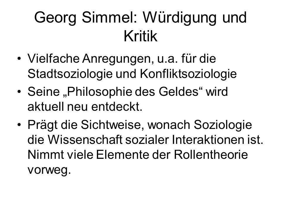 Georg Simmel: Würdigung und Kritik
