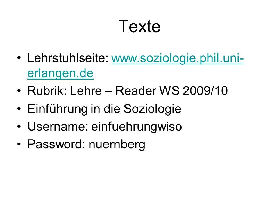 Texte Lehrstuhlseite: www.soziologie.phil.uni-erlangen.de