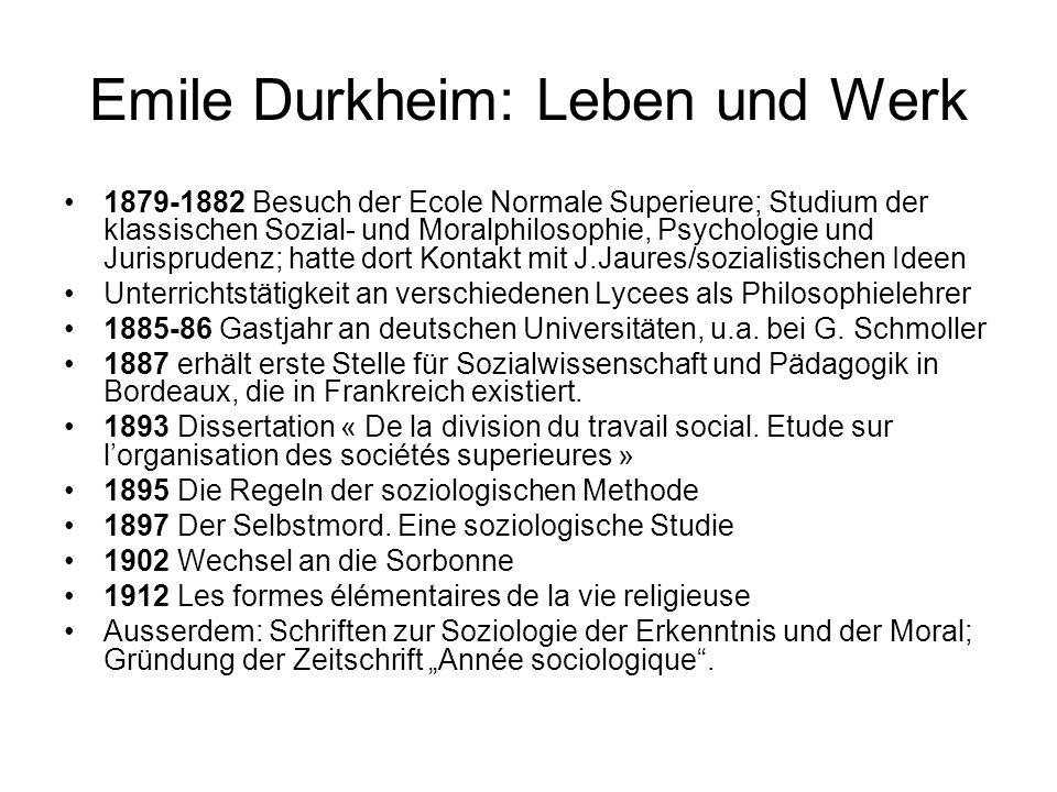 Emile Durkheim: Leben und Werk