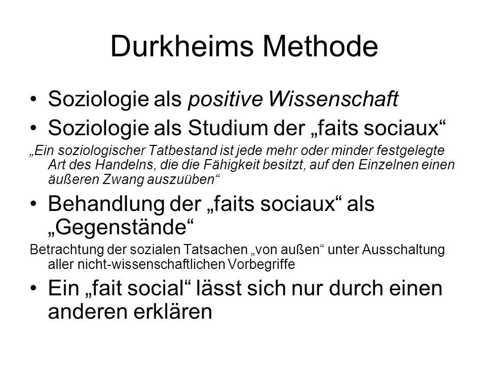 Durkheims Methode Soziologie als positive Wissenschaft