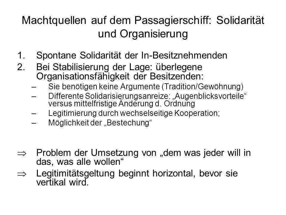 Machtquellen auf dem Passagierschiff: Solidarität und Organisierung