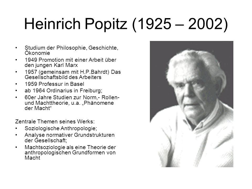 Heinrich Popitz (1925 – 2002) Studium der Philosophie, Geschichte, Ökonomie. 1949 Promotion mit einer Arbeit über den jungen Karl Marx.