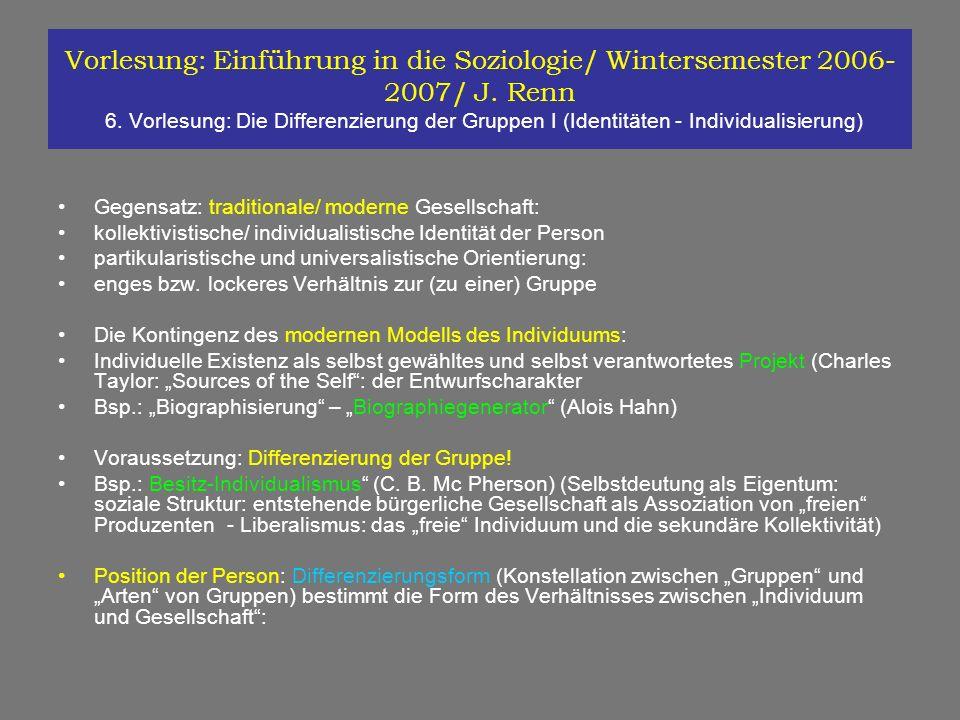Vorlesung: Einführung in die Soziologie/ Wintersemester 2006-2007/ J