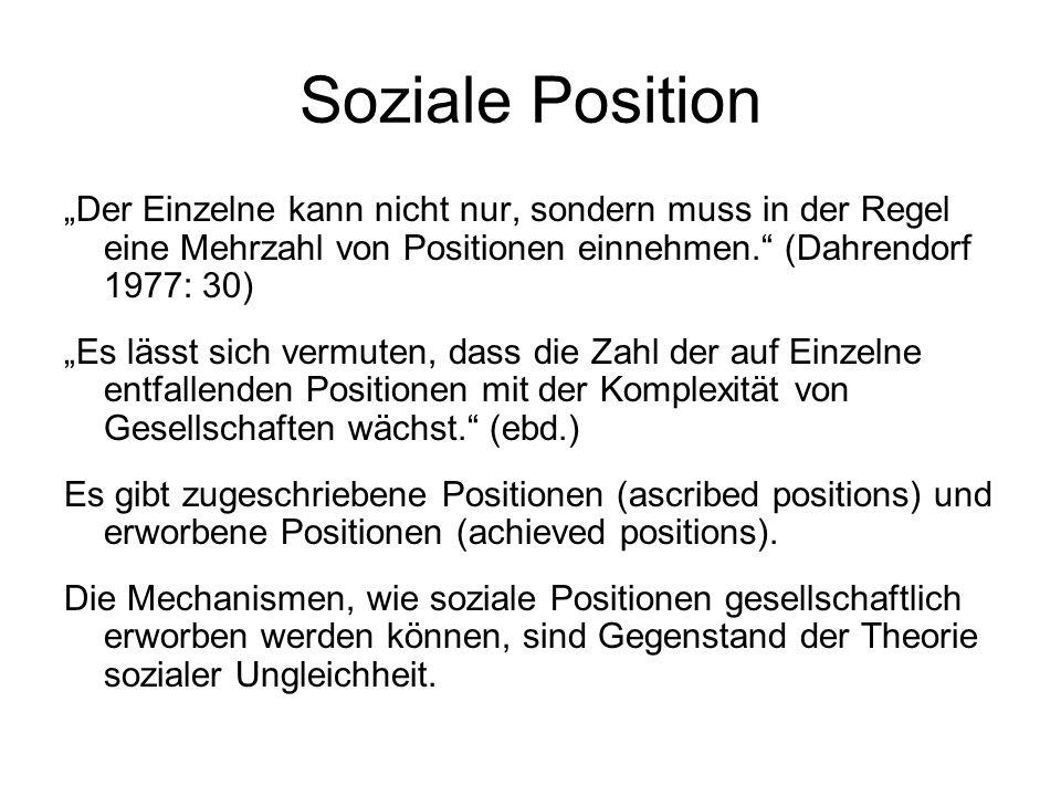 """Soziale Position """"Der Einzelne kann nicht nur, sondern muss in der Regel eine Mehrzahl von Positionen einnehmen. (Dahrendorf 1977: 30)"""