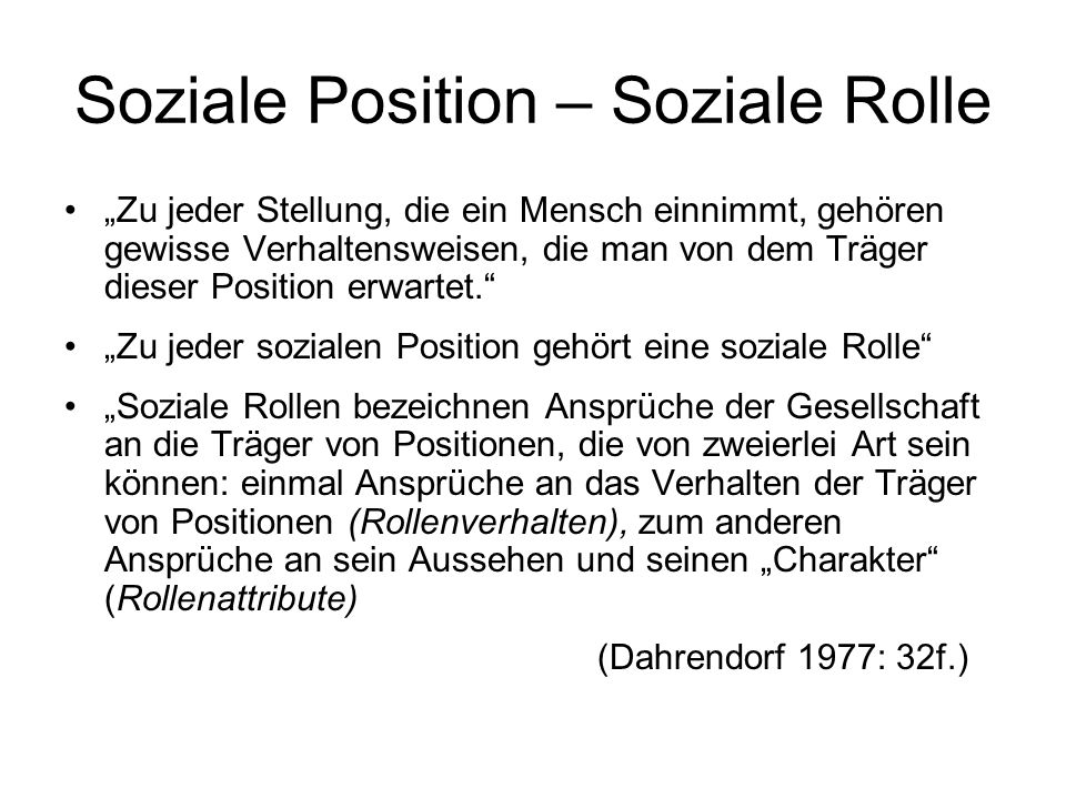 Soziale Position – Soziale Rolle