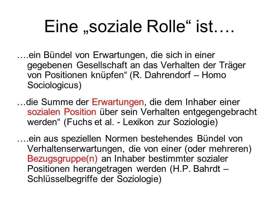 """Eine """"soziale Rolle ist…."""