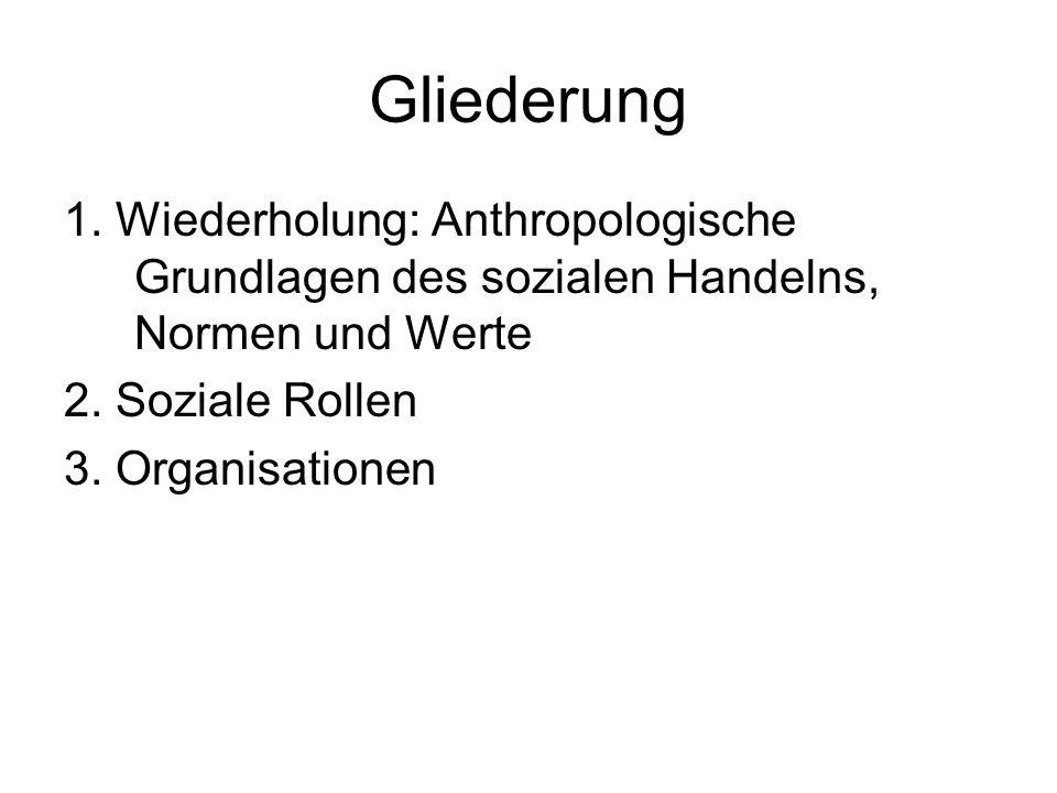 Gliederung 1. Wiederholung: Anthropologische Grundlagen des sozialen Handelns, Normen und Werte. 2. Soziale Rollen.
