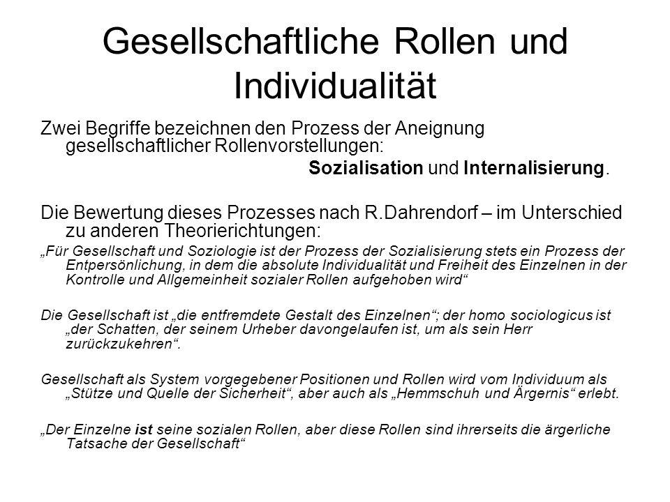 Gesellschaftliche Rollen und Individualität