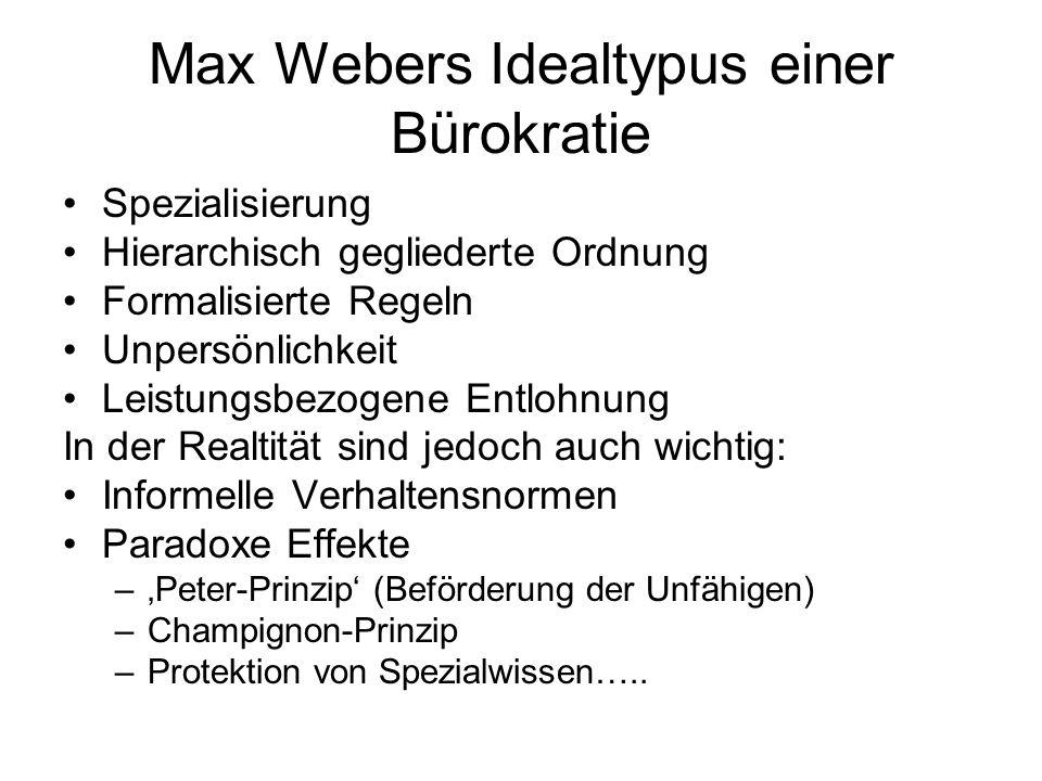Max Webers Idealtypus einer Bürokratie