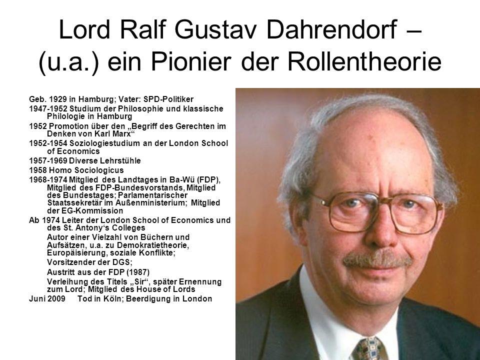 Lord Ralf Gustav Dahrendorf – (u.a.) ein Pionier der Rollentheorie