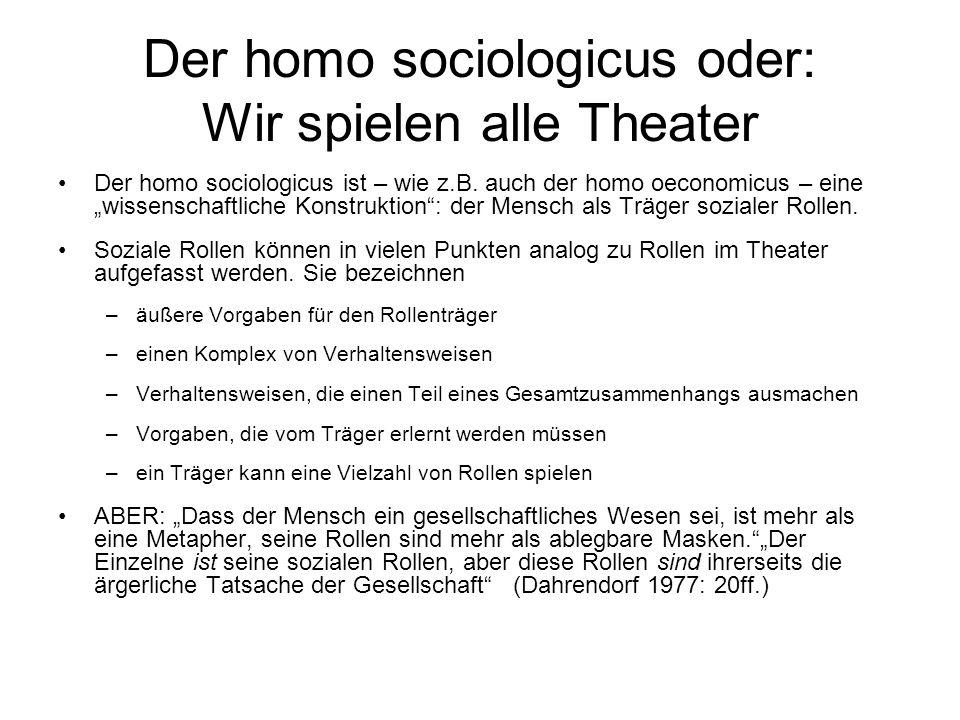 Der homo sociologicus oder: Wir spielen alle Theater