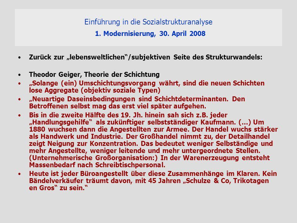 Einführung in die Sozialstrukturanalyse 1. Modernisierung, 30