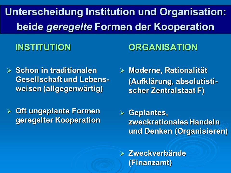 Unterscheidung Institution und Organisation: beide geregelte Formen der Kooperation