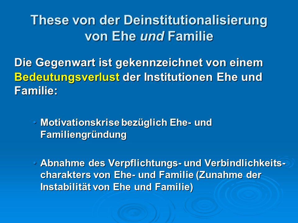 These von der Deinstitutionalisierung von Ehe und Familie