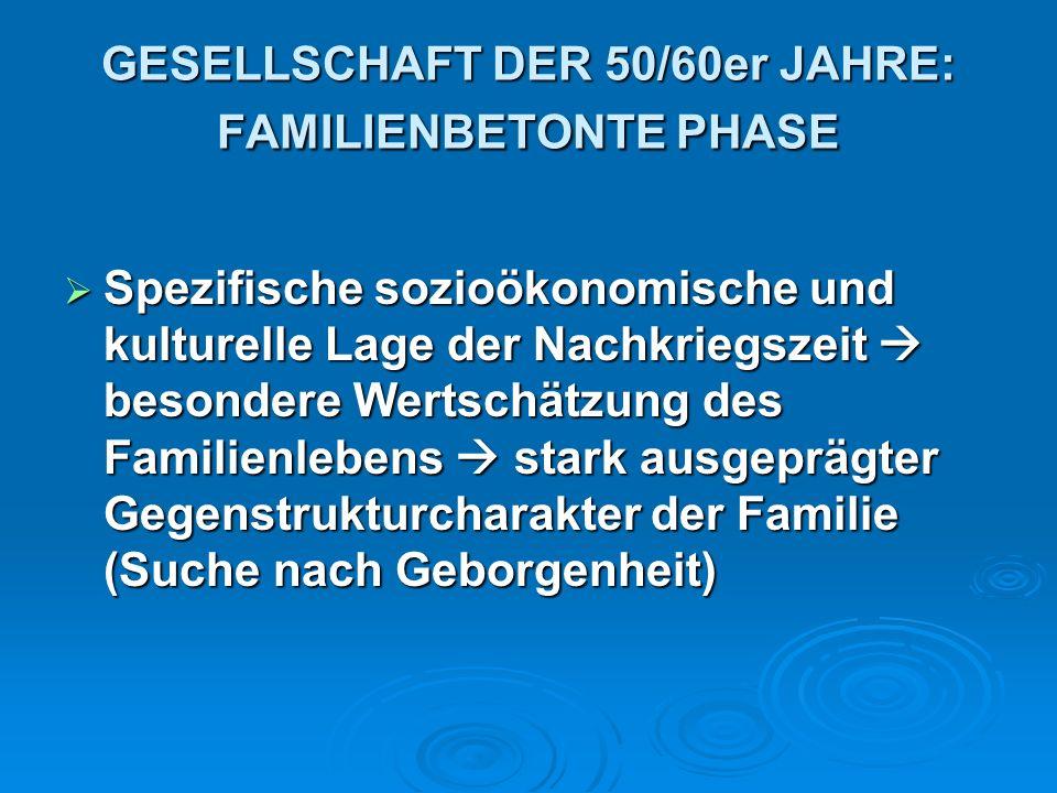 GESELLSCHAFT DER 50/60er JAHRE: FAMILIENBETONTE PHASE