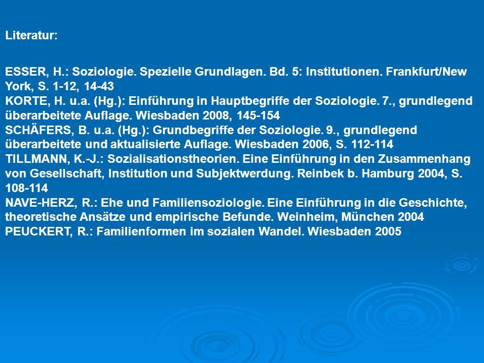 Literatur: ESSER, H.: Soziologie. Spezielle Grundlagen. Bd. 5: Institutionen. Frankfurt/New York, S. 1-12, 14-43.