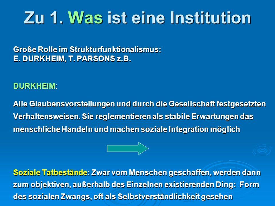 Zu 1. Was ist eine Institution