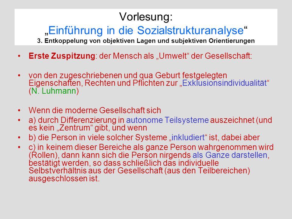 """Vorlesung: """"Einführung in die Sozialstrukturanalyse 3"""