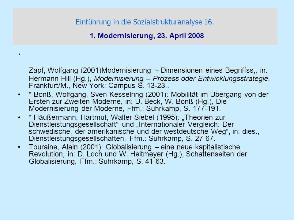 Einführung in die Sozialstrukturanalyse 16. 1. Modernisierung, 23