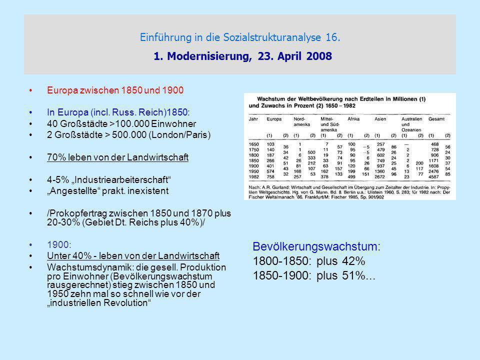 Bevölkerungswachstum: 1800-1850: plus 42% 1850-1900: plus 51%...