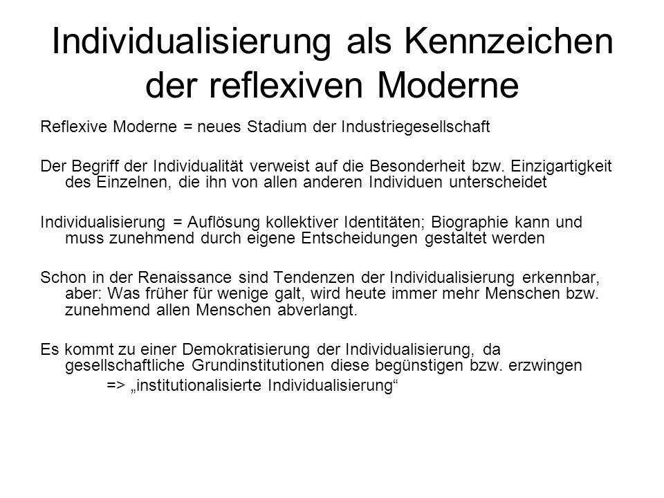 Individualisierung als Kennzeichen der reflexiven Moderne