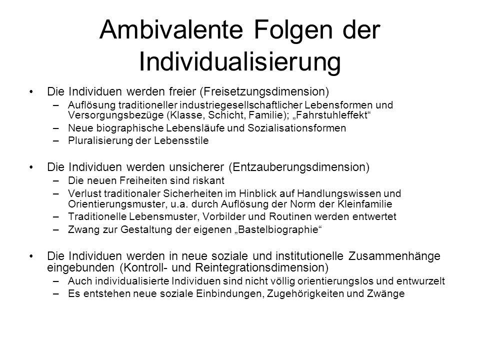 Ambivalente Folgen der Individualisierung