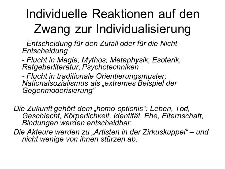 Individuelle Reaktionen auf den Zwang zur Individualisierung