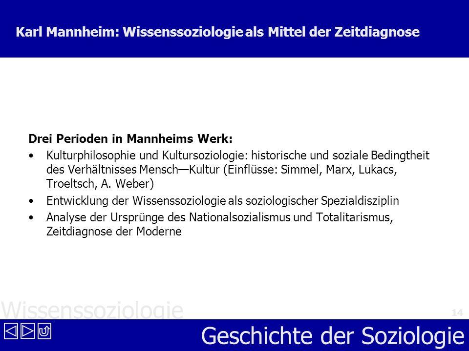 Karl Mannheim: Wissenssoziologie als Mittel der Zeitdiagnose
