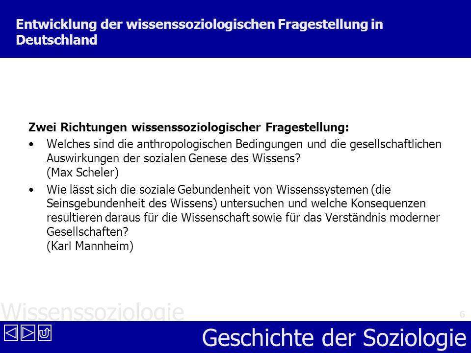 Entwicklung der wissenssoziologischen Fragestellung in Deutschland