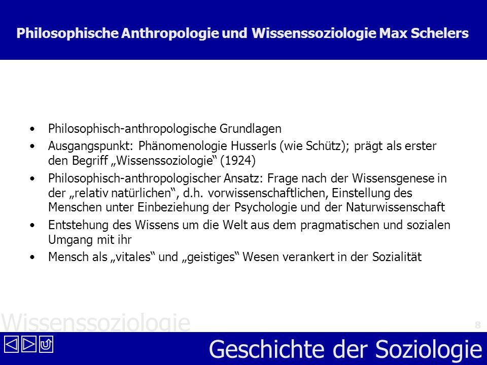 Philosophische Anthropologie und Wissenssoziologie Max Schelers