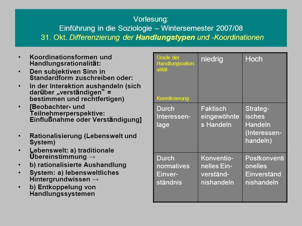 Vorlesung: Einführung in die Soziologie – Wintersemester 2007/08 31
