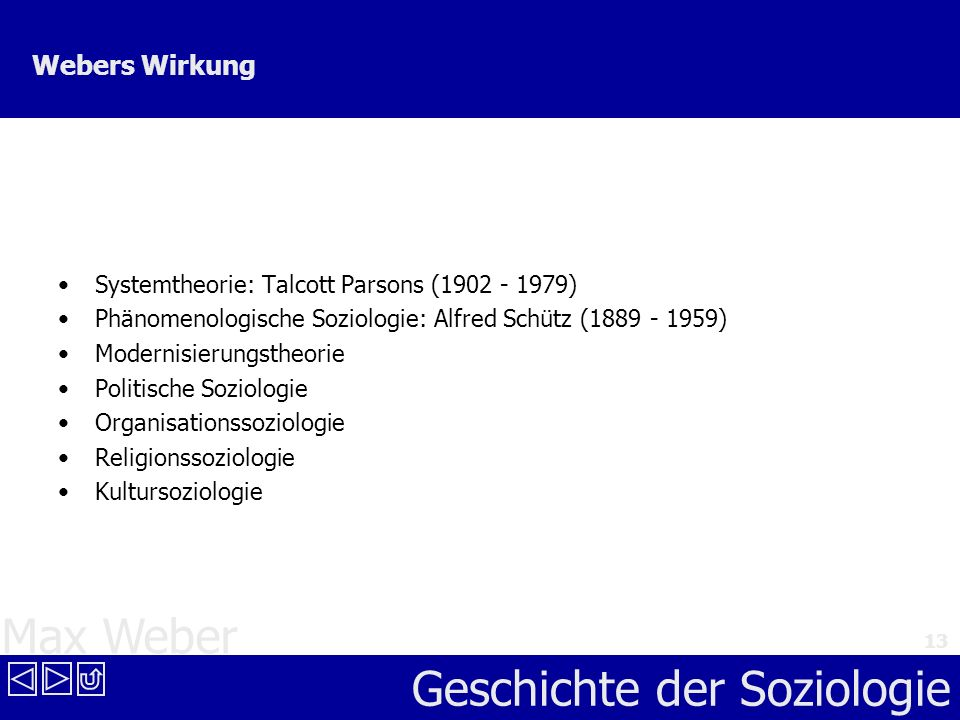 Webers Wirkung Systemtheorie: Talcott Parsons (1902 - 1979)