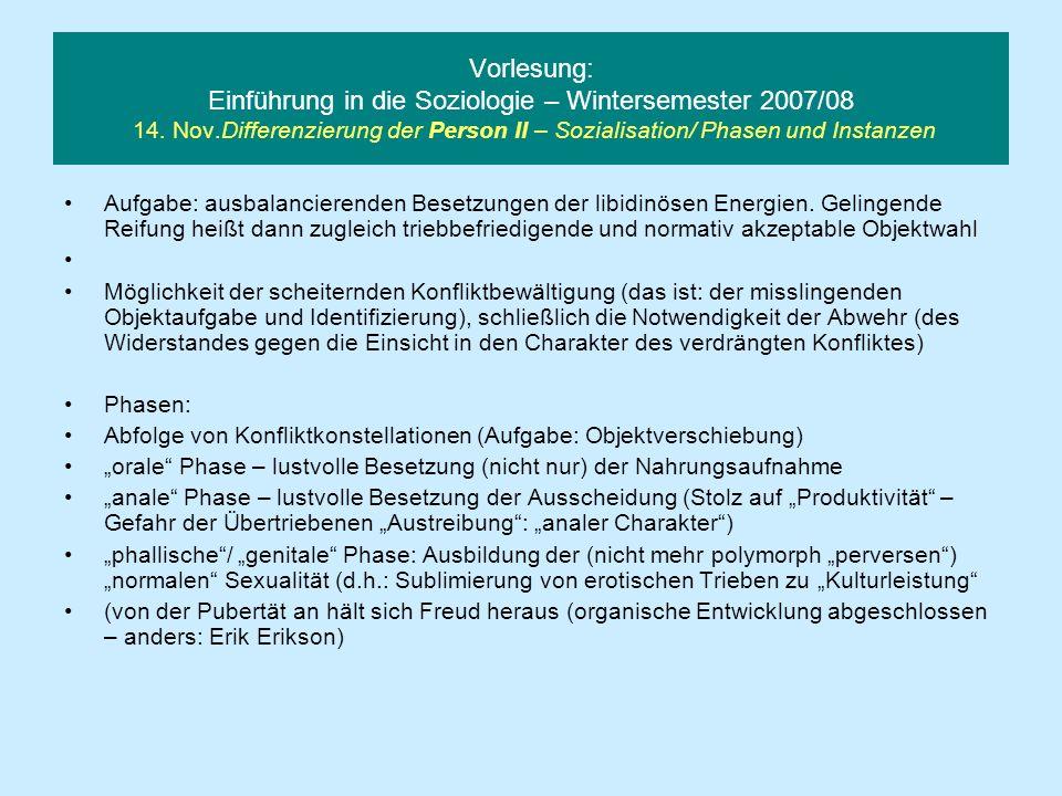 Vorlesung: Einführung in die Soziologie – Wintersemester 2007/08 14