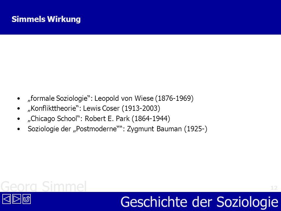 """Simmels Wirkung """"formale Soziologie : Leopold von Wiese (1876-1969)"""