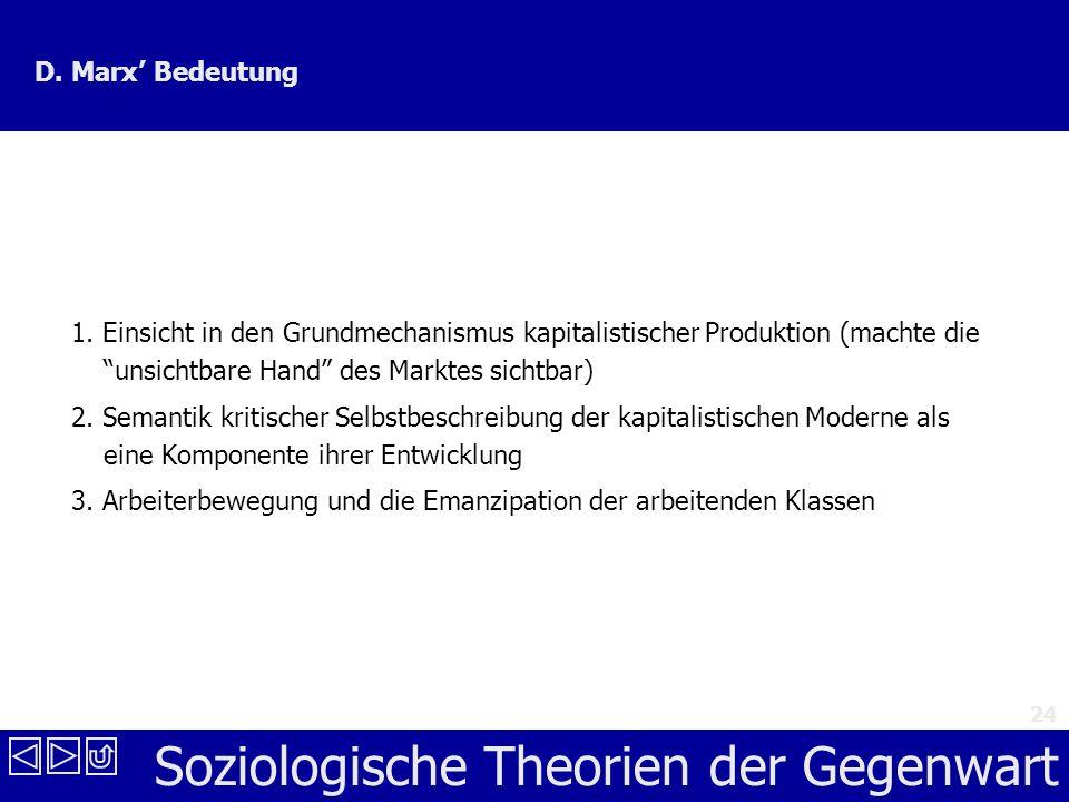D. Marx' Bedeutung 1. Einsicht in den Grundmechanismus kapitalistischer Produktion (machte die unsichtbare Hand des Marktes sichtbar)