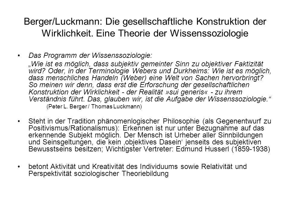 Berger/Luckmann: Die gesellschaftliche Konstruktion der Wirklichkeit
