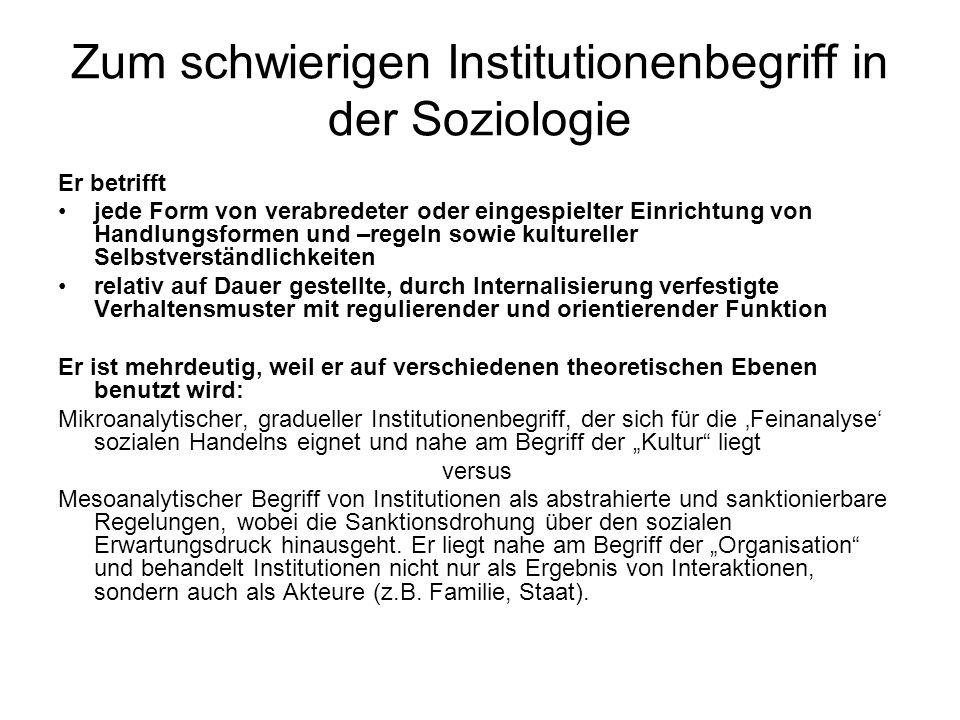 Zum schwierigen Institutionenbegriff in der Soziologie