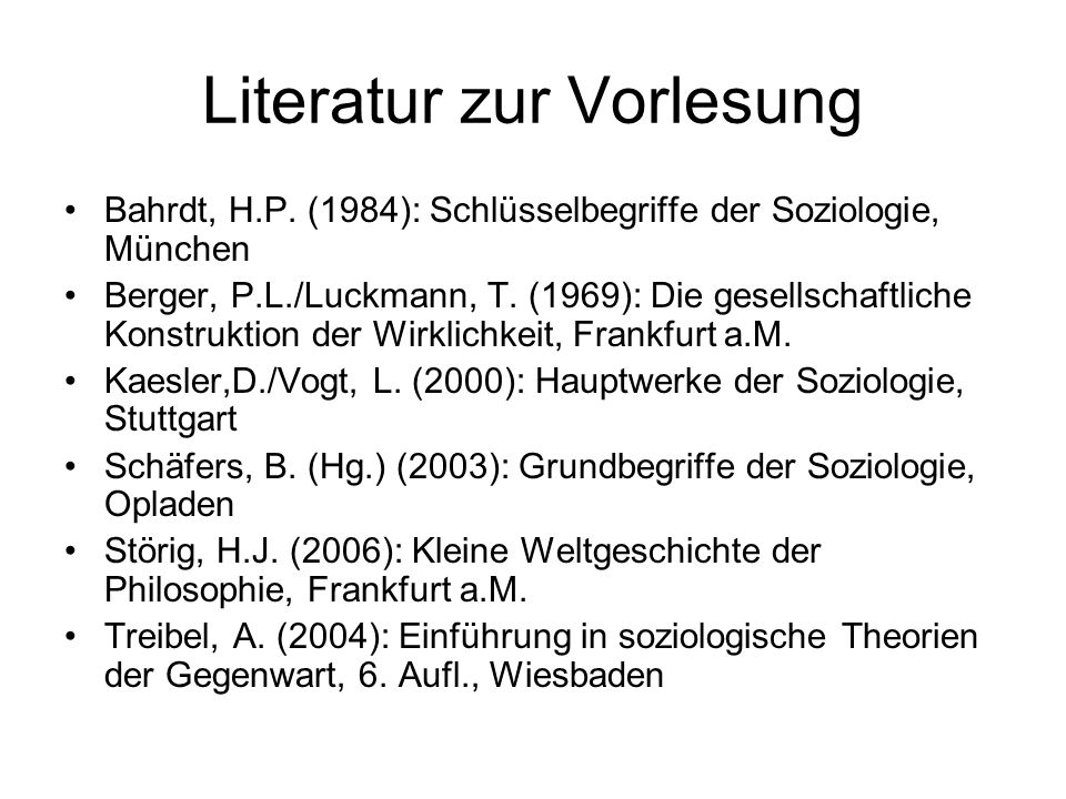 Literatur zur Vorlesung