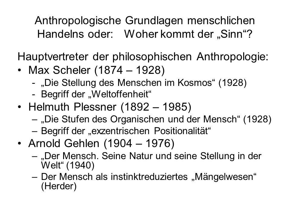 Hauptvertreter der philosophischen Anthropologie: