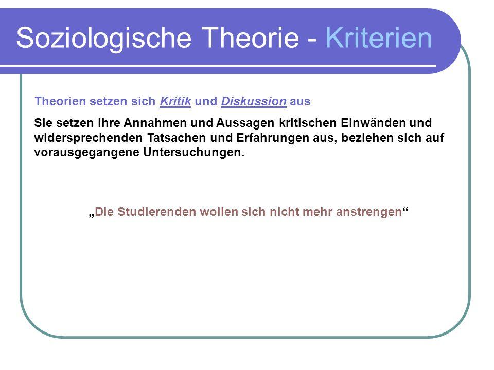 Soziologische Theorie - Kriterien