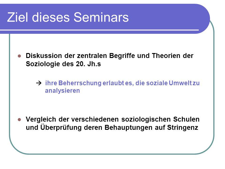 Ziel dieses Seminars Diskussion der zentralen Begriffe und Theorien der Soziologie des 20. Jh.s.