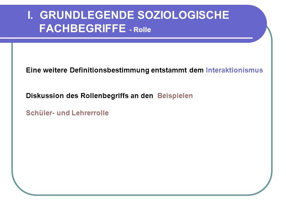 I. GRUNDLEGENDE SOZIOLOGISCHE FACHBEGRIFFE - Rolle