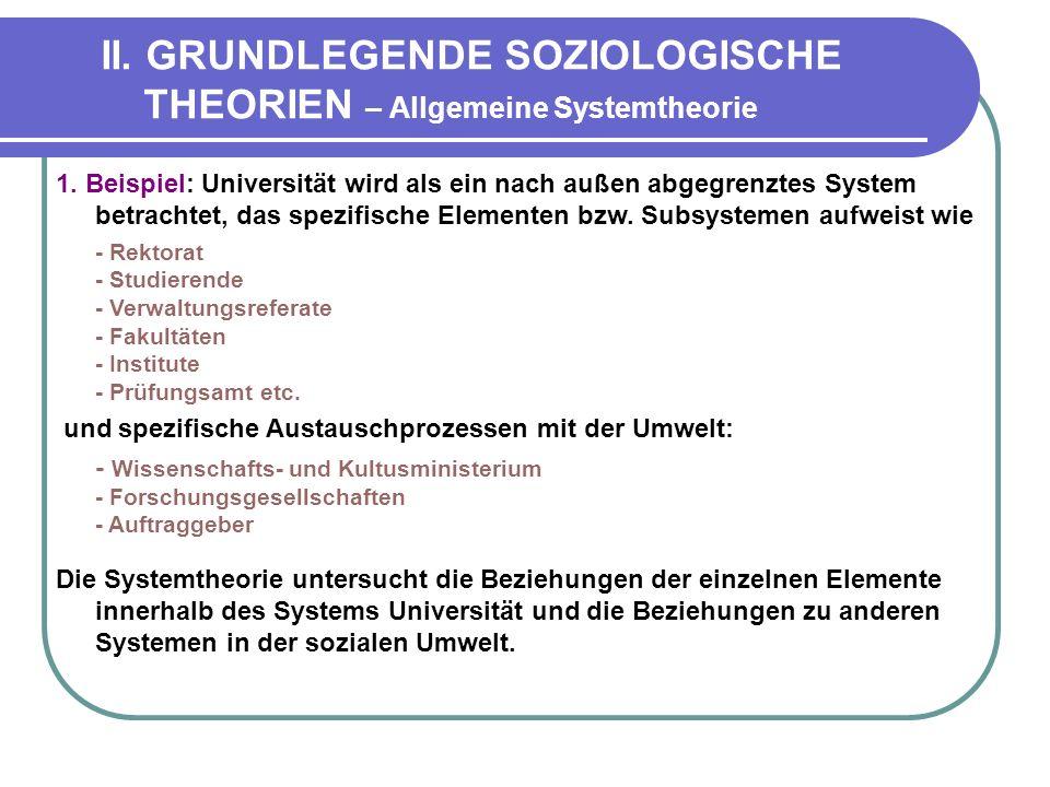 II. GRUNDLEGENDE SOZIOLOGISCHE THEORIEN – Allgemeine Systemtheorie