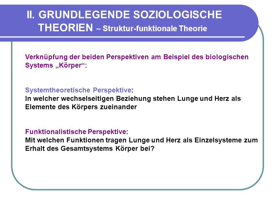 II. GRUNDLEGENDE SOZIOLOGISCHE THEORIEN – Struktur-funktionale Theorie