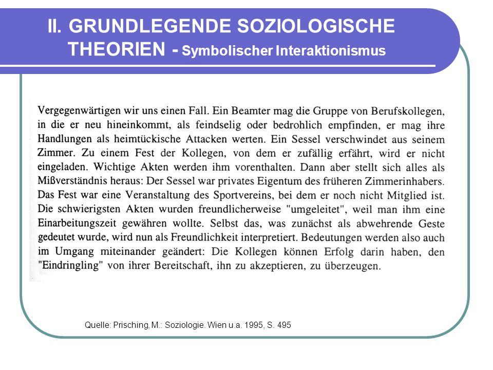 II. GRUNDLEGENDE SOZIOLOGISCHE THEORIEN - Symbolischer Interaktionismus