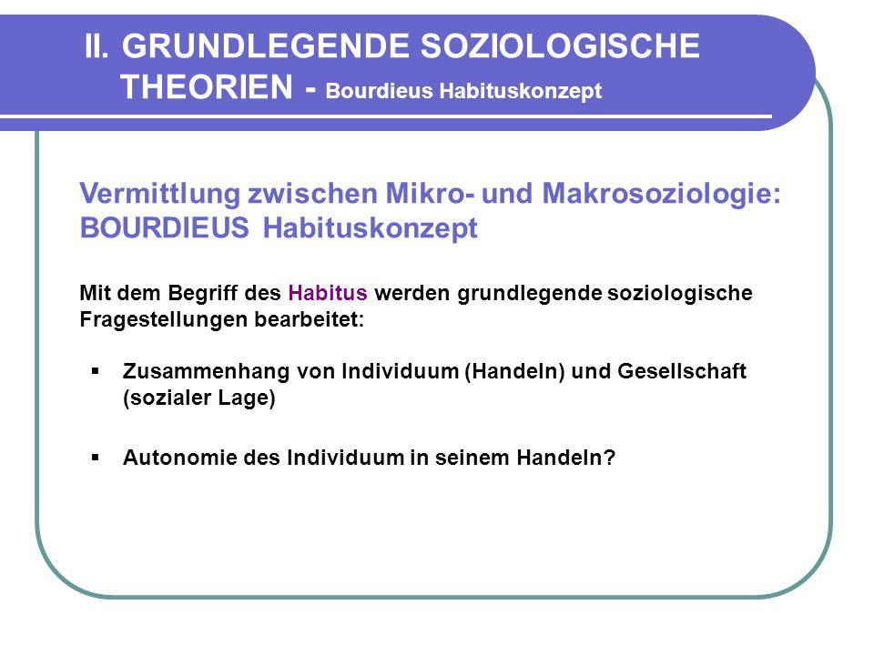 II. GRUNDLEGENDE SOZIOLOGISCHE THEORIEN - Bourdieus Habituskonzept