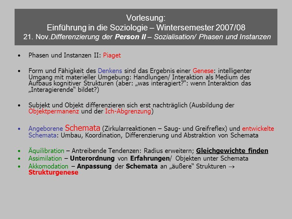 Vorlesung: Einführung in die Soziologie – Wintersemester 2007/08 21
