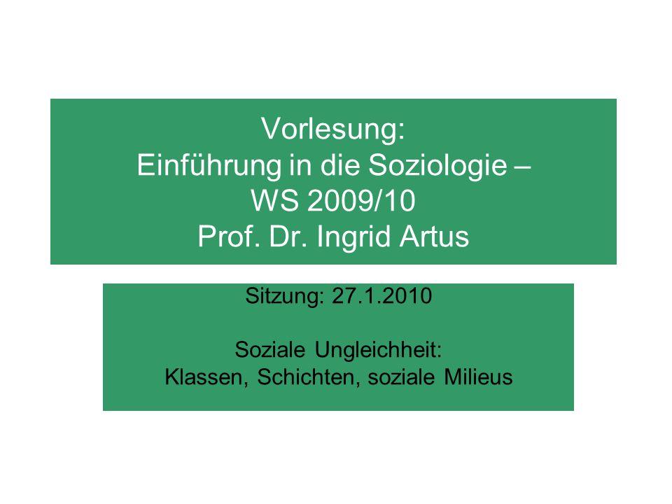 Vorlesung: Einführung in die Soziologie – WS 2009/10 Prof. Dr