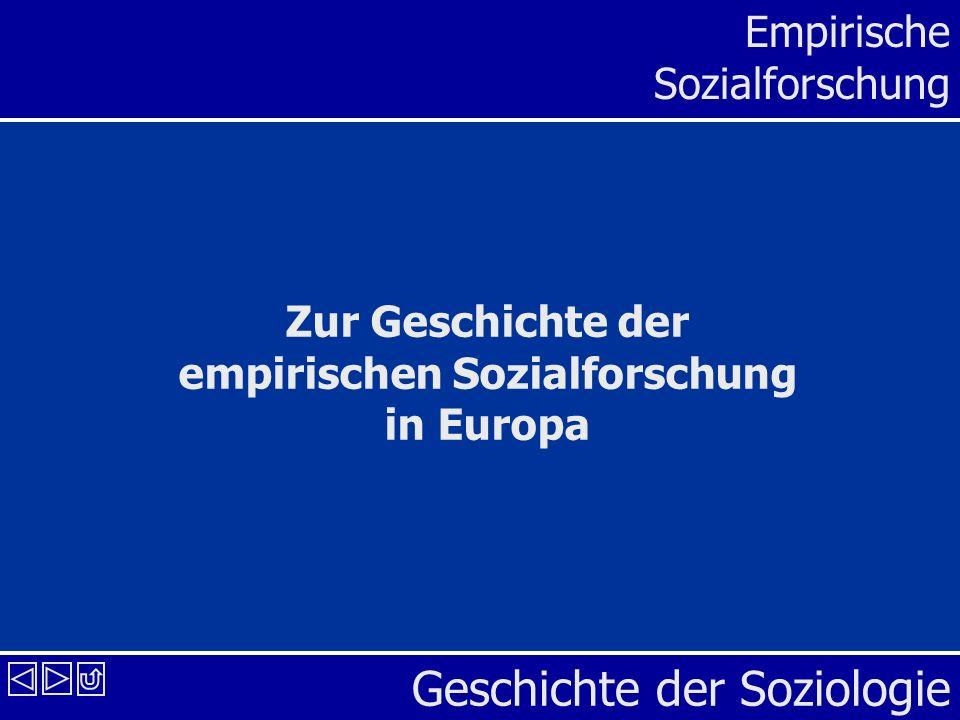 Zur Geschichte der empirischen Sozialforschung in Europa