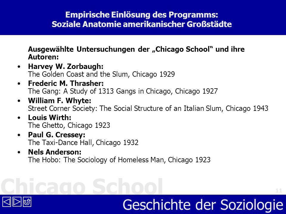 Empirische Einlösung des Programms: Soziale Anatomie amerikanischer Großstädte
